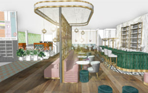 Artist impression of the back bar area of the new All Star Lanes next generation concept opening at Westfield London