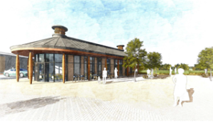 Artist impression of the new cafe at the Everards Meadows development for which an operator is being sought