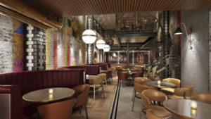 A CGI of Old Compton Brasserie, which is opening in Soho this summer for Maxwell's Restaurant Group's tenth site