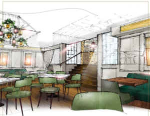 Artist impression of Hans' Bar & Grill in Chelsea