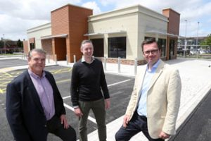 From left: Unionburger co-owner Chris Baker, Cooke & Arkwright director Huw Thomas and Otium Real Estate chief executive Ashley Blake