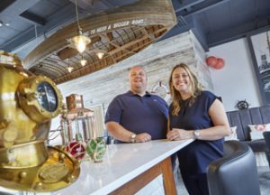 Owners James and Paula Stockdale at the new Humber Fish Co restaurant, the latest venue to open in Hull's Fruit Market waterfront quarter