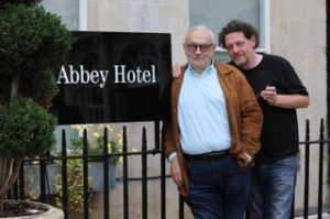 Pierre Koffmann and Marco Pierre White outside the Abbey Hotel, Bath