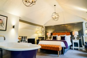 One of the bedrooms at The Arrow Mill, Brunning & Price's first pub with rooms