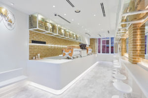 CGI of Japanese speciality coffee brand's % Arabica store in London