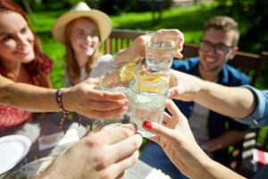 Millennials / Students enjoying soft drinks